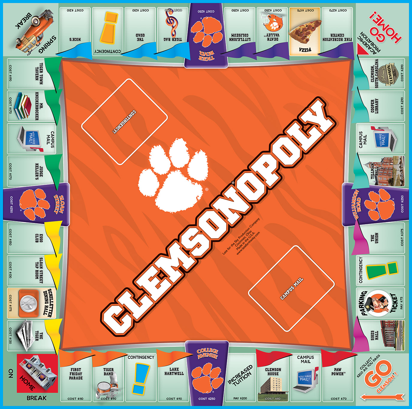 CLEMSONOPOLY Board Game