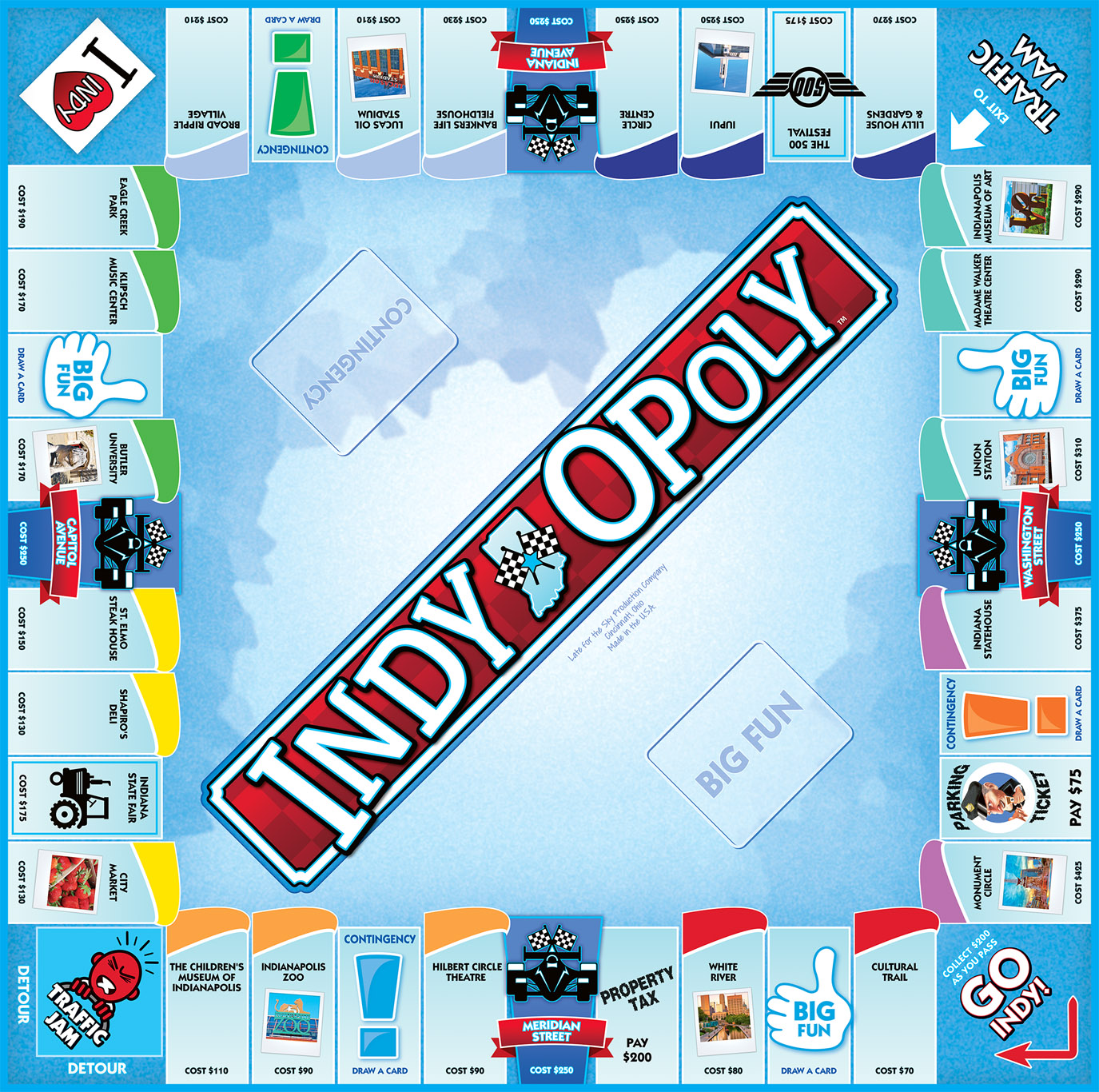 INDY-OPOLY Board Game