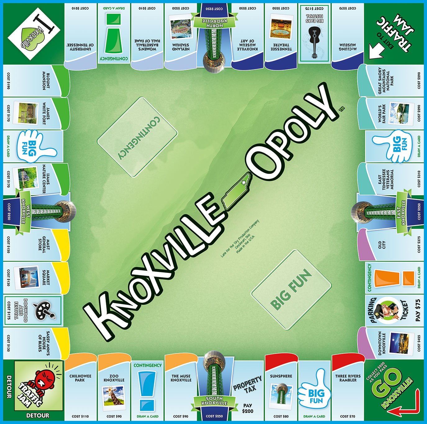 KNOXVILLE-OPOLY Board Game