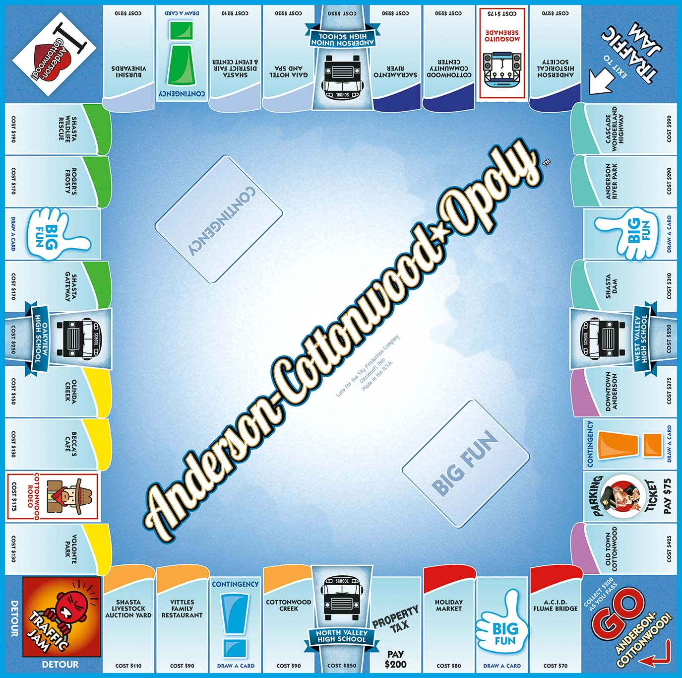 ANDERSON-COTTONWOOD-OPOLY Board Game