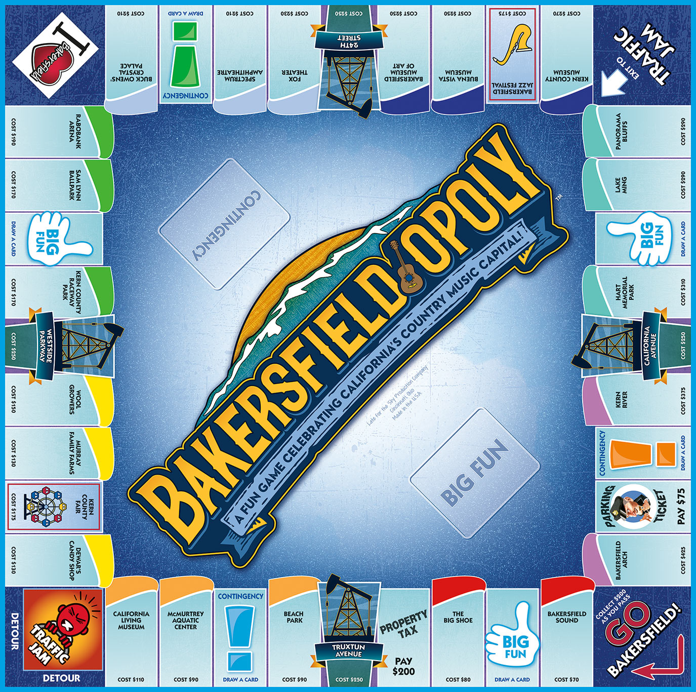 BAKERSFIELD-OPOLY Board Game