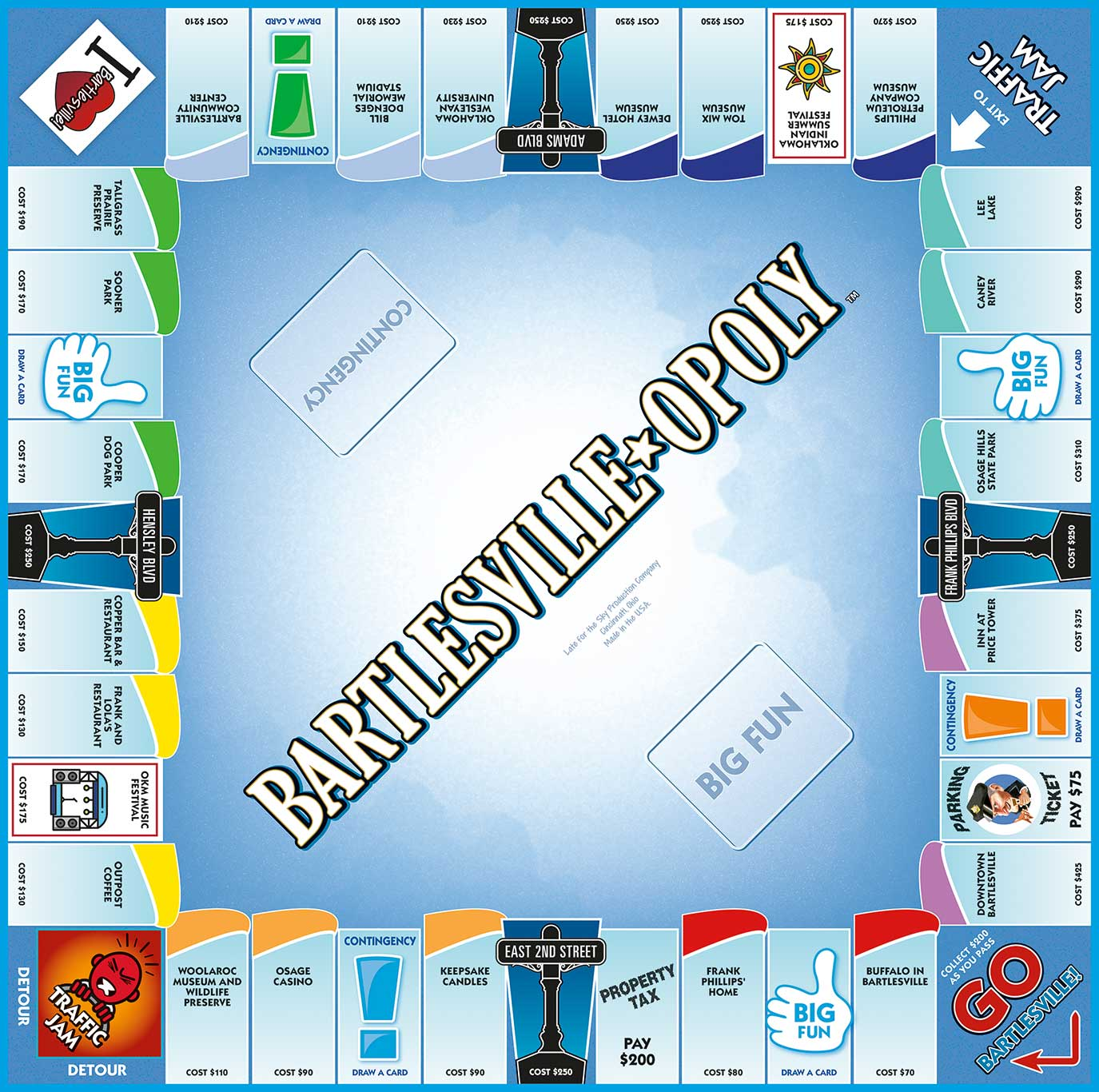 BARTLESVILLE-OPOLY Board Game