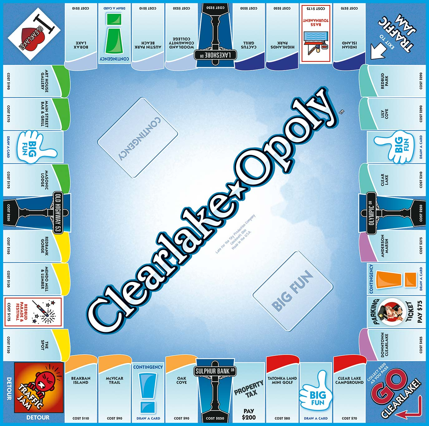 CLEARLAKE-OPOLY Board Game