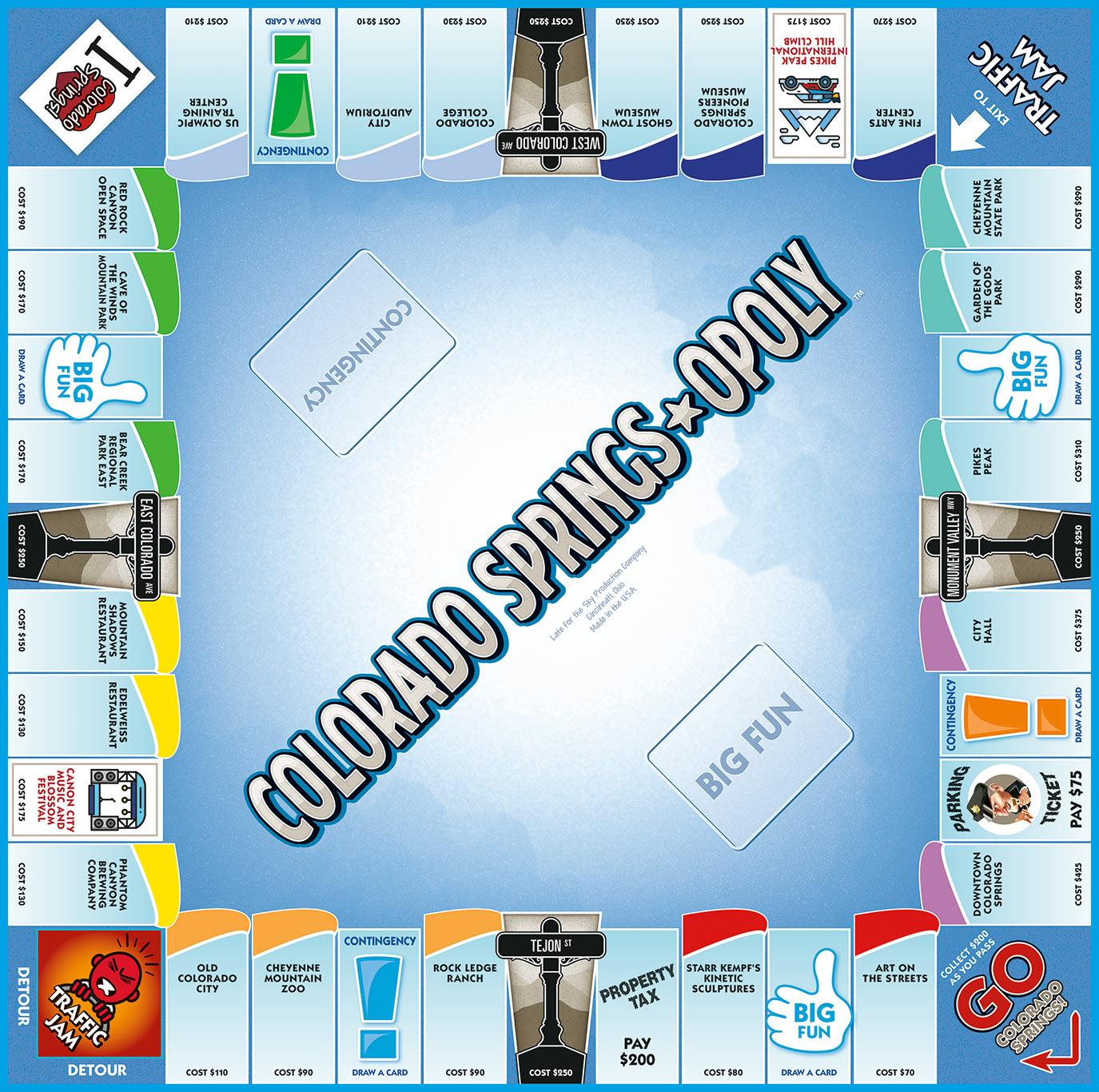 COLORADO SPRINGS-OPOLY Board Game