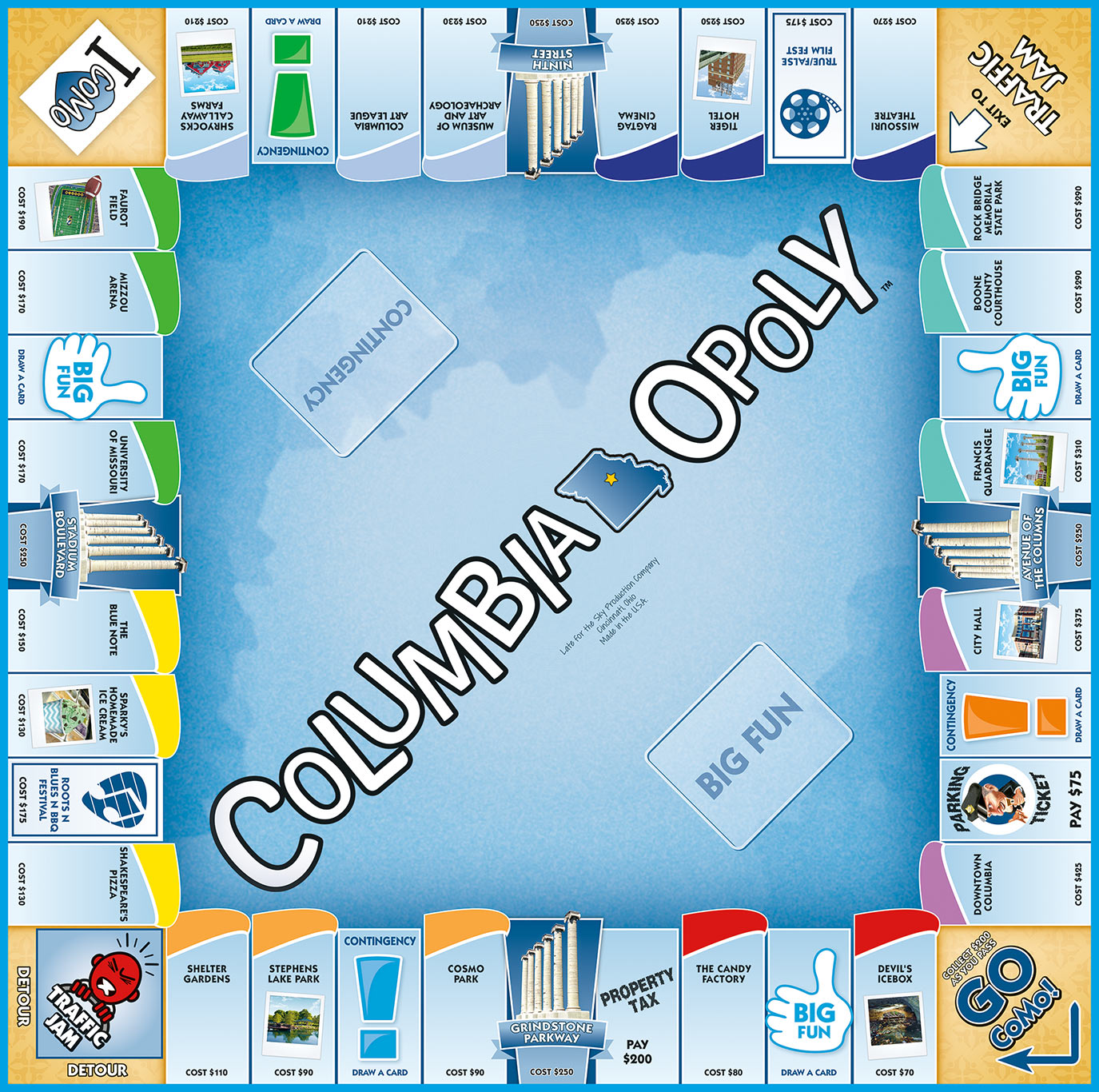 COLUMBIA-OPOLY Board Game
