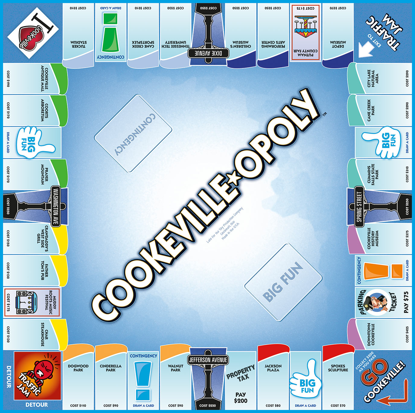 COOKEVILLE-OPOLY Board Game