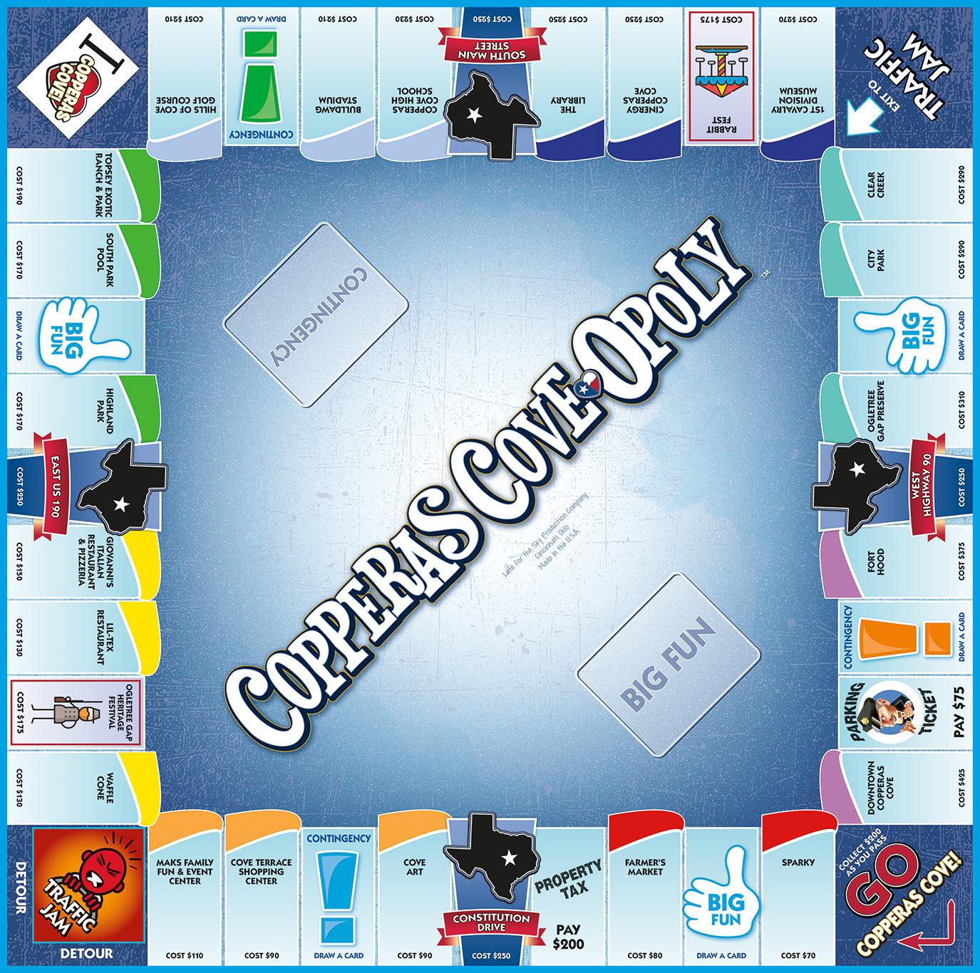 COPPERAS COVE-OPOLY Board Game