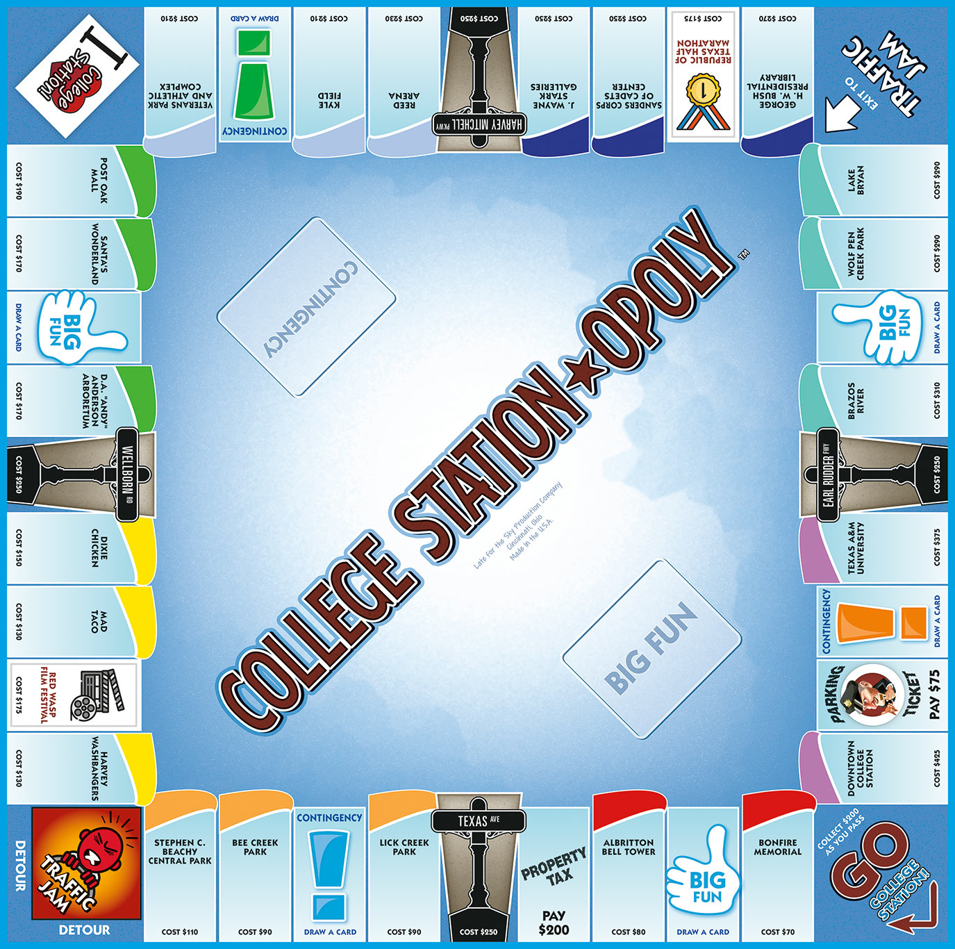 COLLEGE STATION-OPOLY Board Game