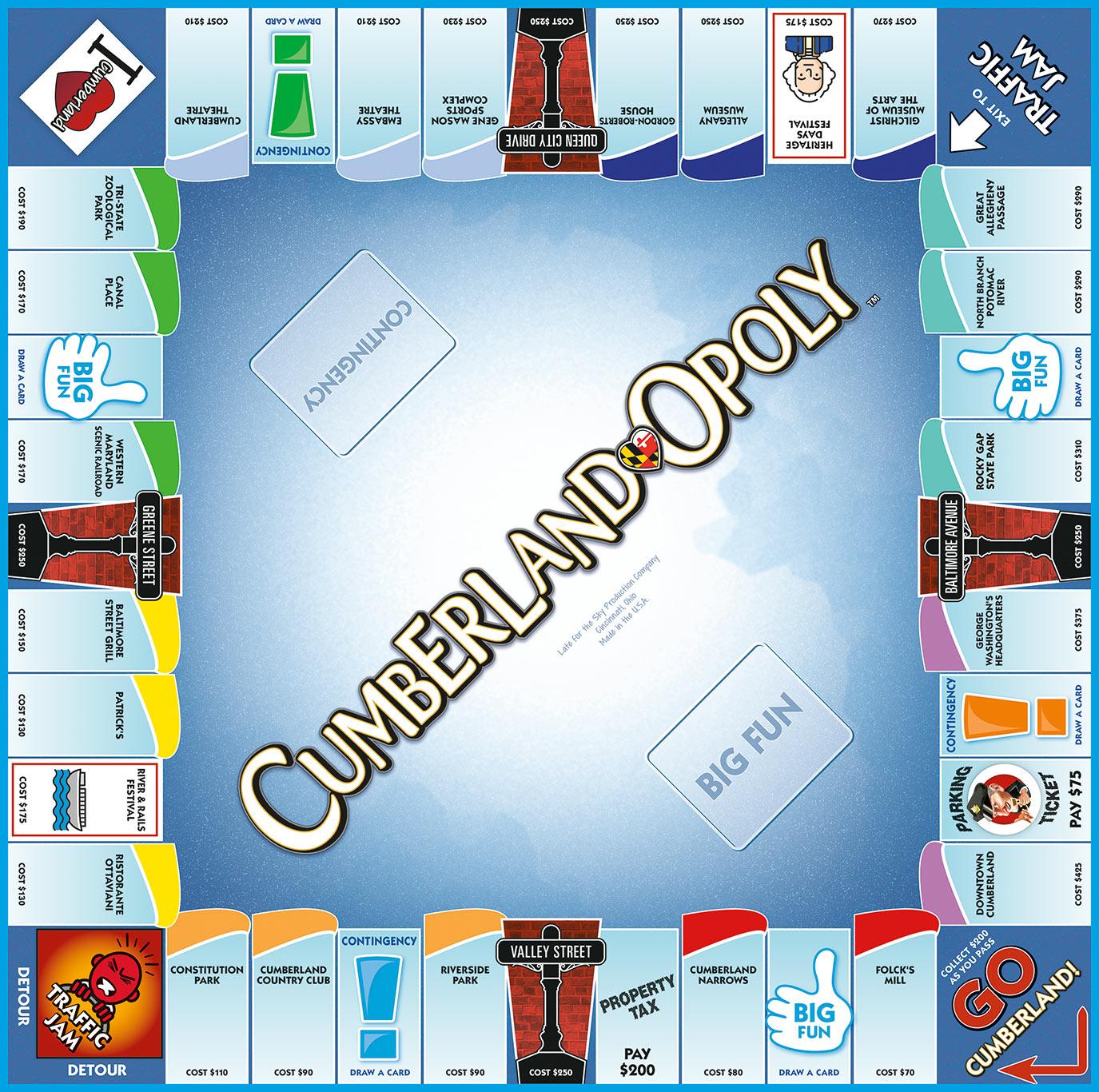 CUMBERLAND-OPOLY Board Game