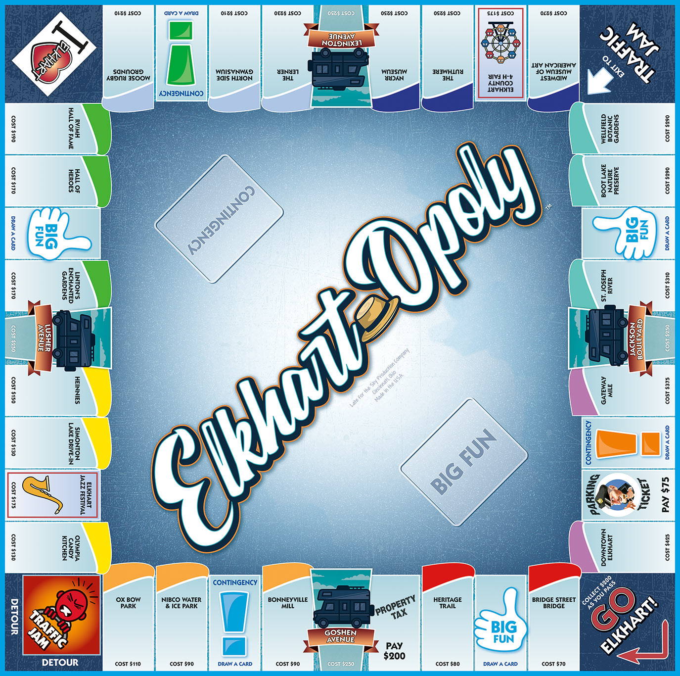 ELKHART-OPOLY Board Game