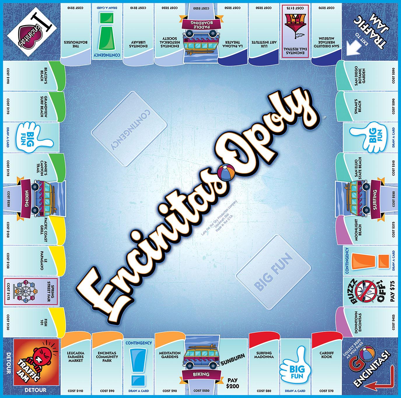 ENCINITAS-OPOLY Board Game