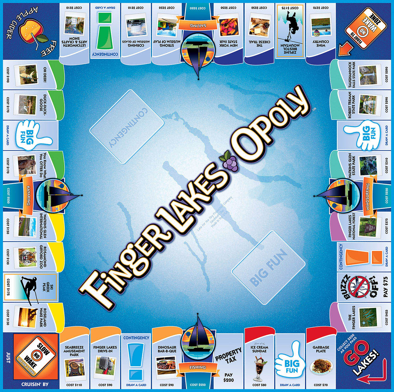 FINGER LAKES-OPOLY Board Game