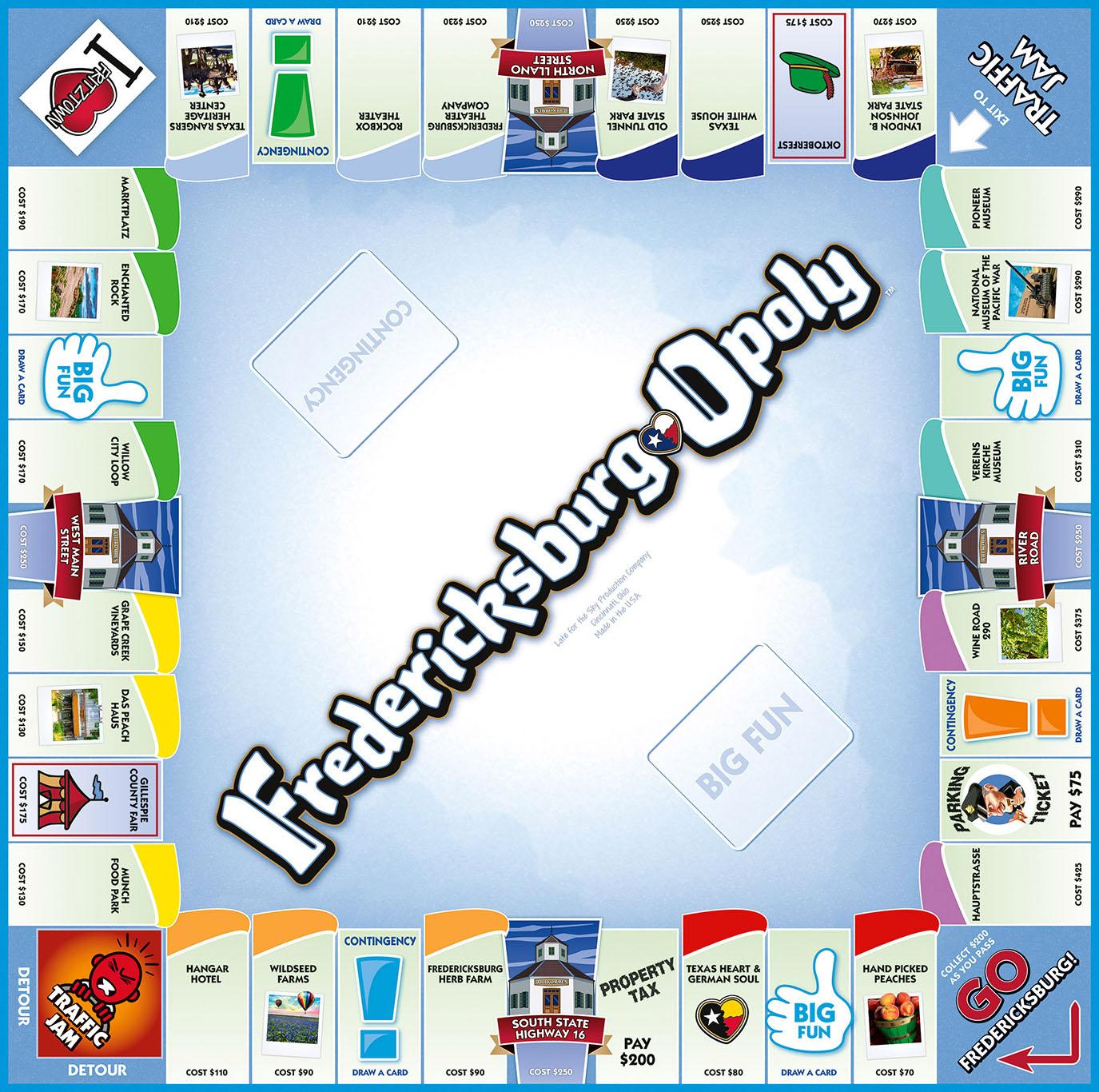 FREDERICKSBURG-OPOLY Board Game
