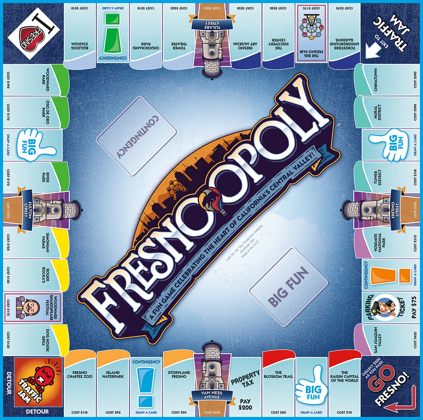 FRESNO-OPOLY Board Game
