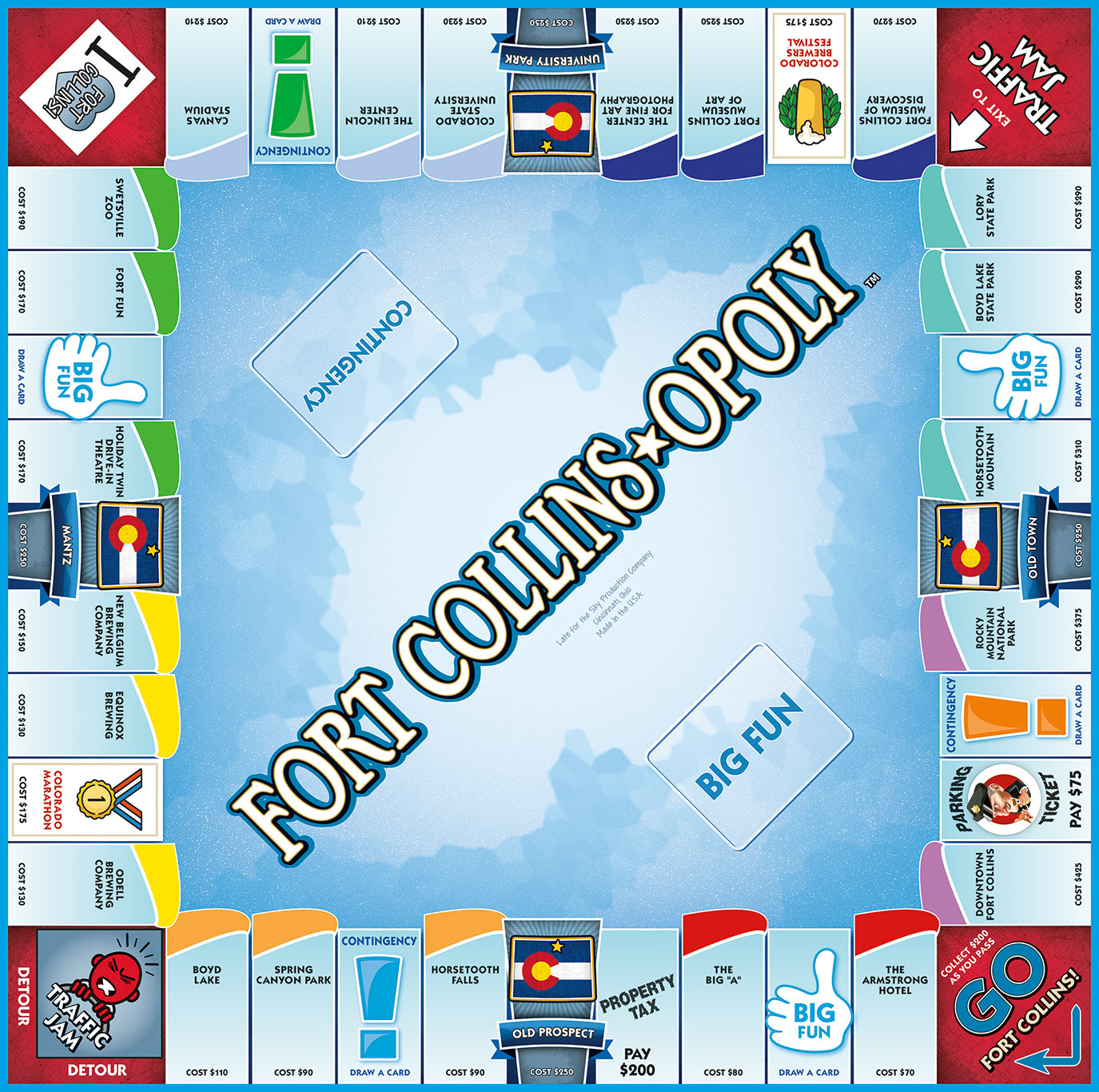FORT COLLINS-OPOLY Board Game