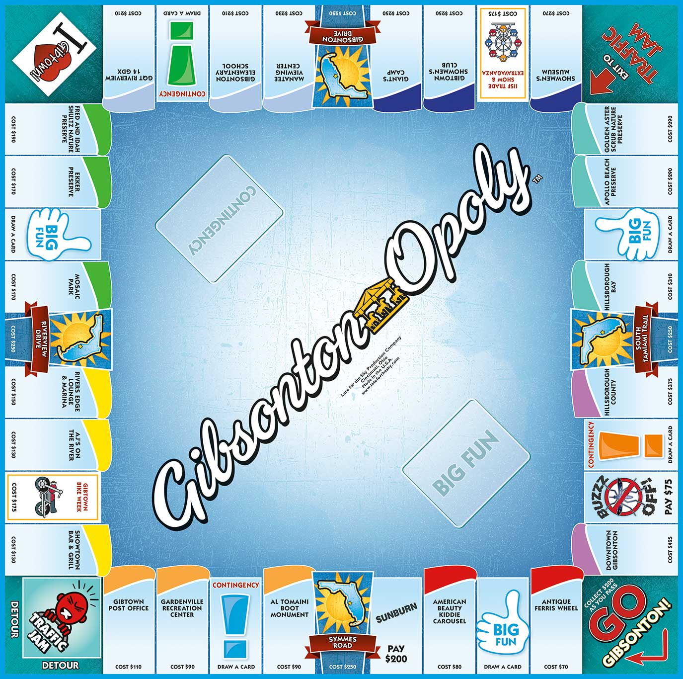 GIBSONTON-OPOLY Board Game