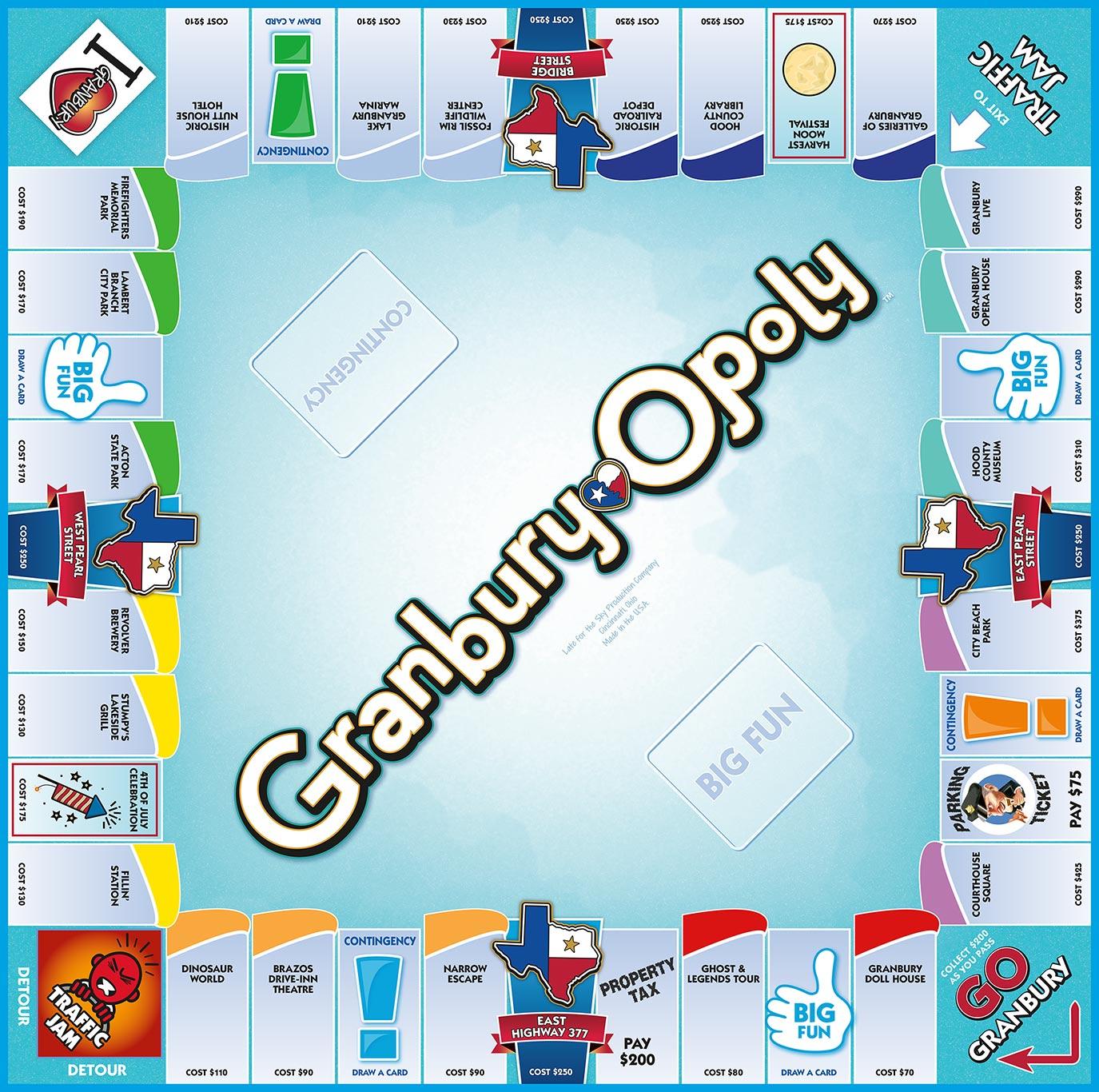 GRANBURY-OPOLY Board Game