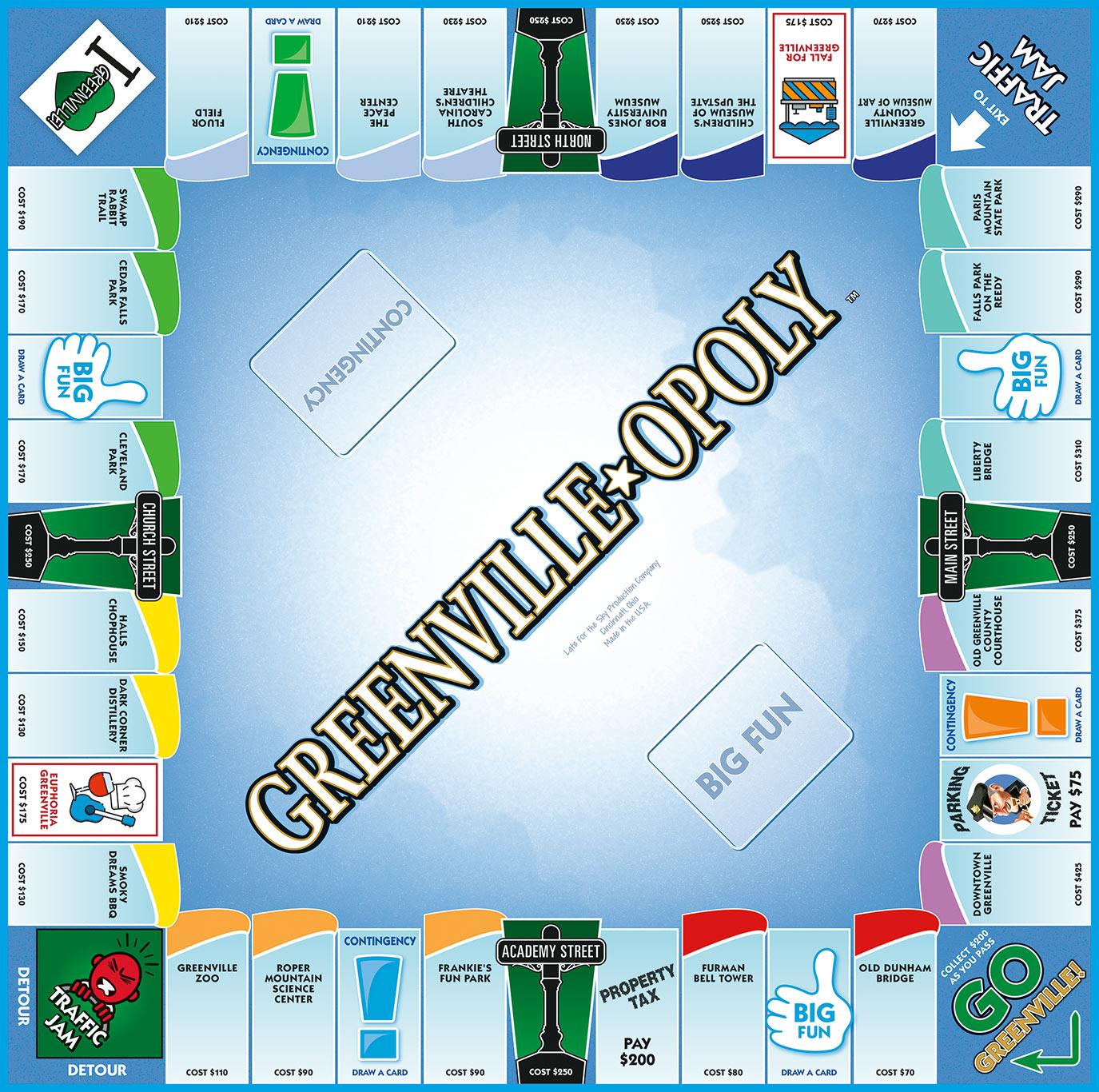 GREENVILLE-OPOLY (SC) Board Game