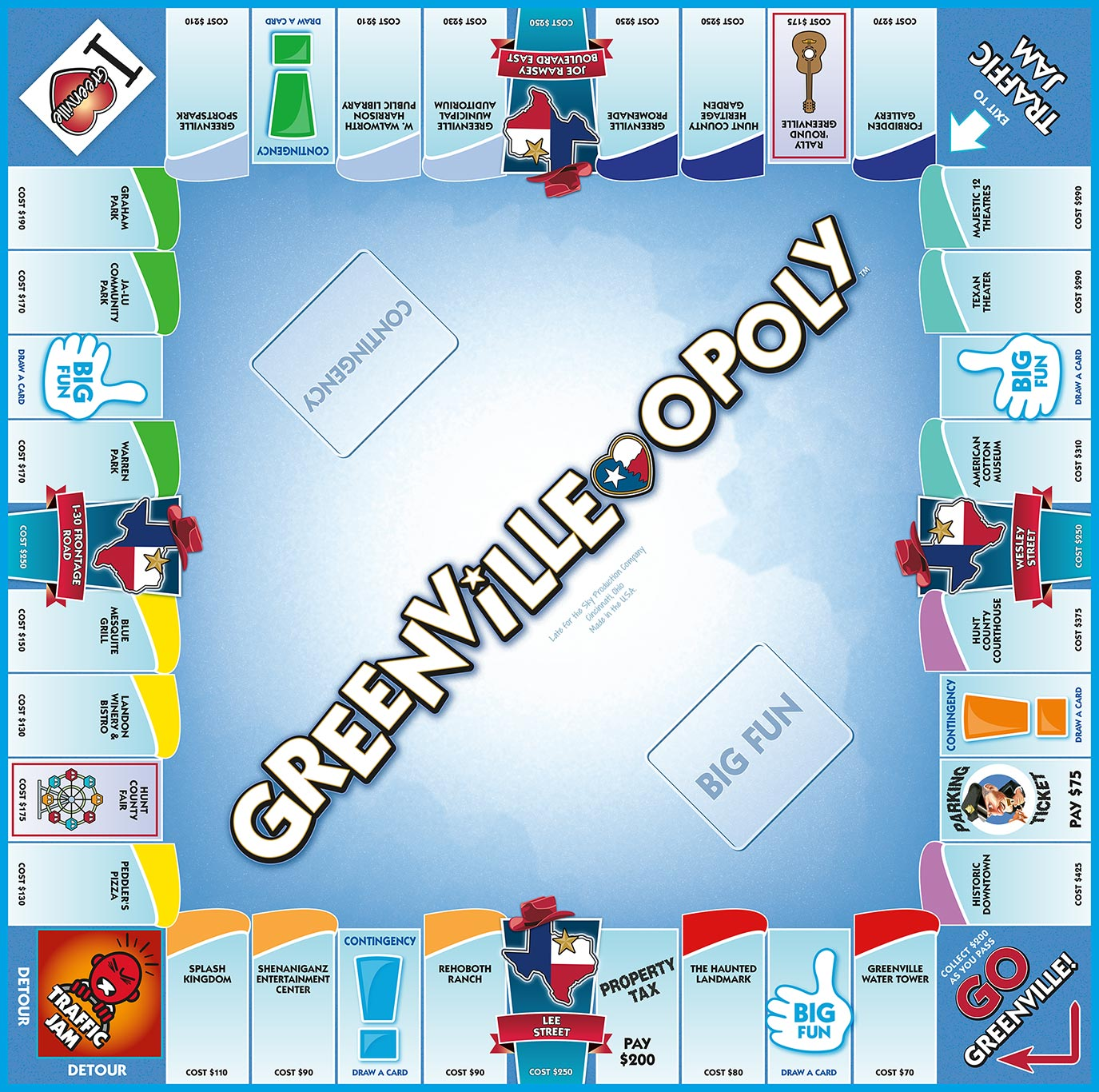 GREENVILLE-OPOLY Board Game