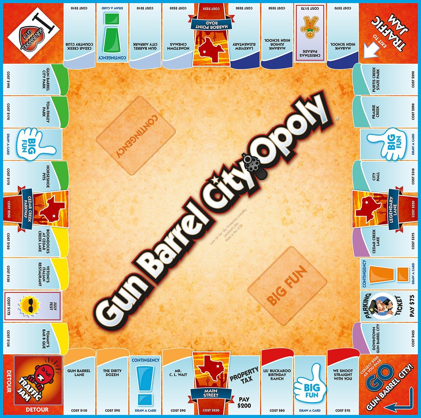 GUN BARREL-OPOLY Board Game