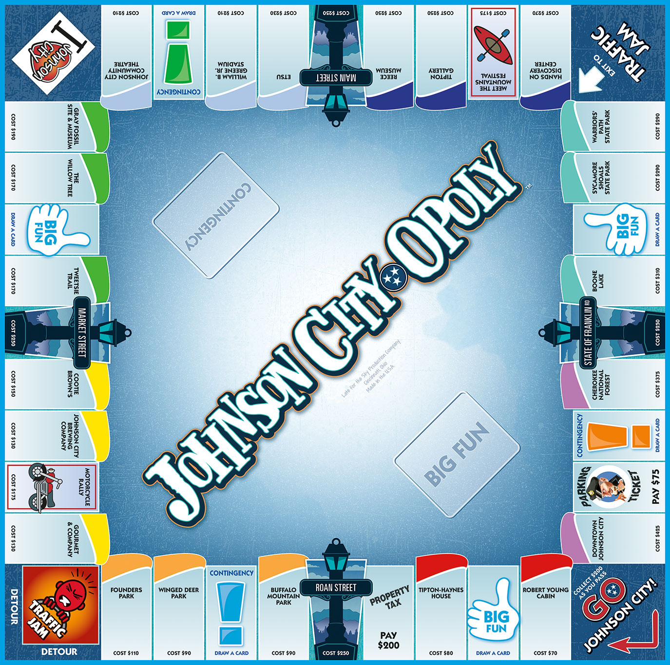 JOHNSON CITY-OPOLY Board Game
