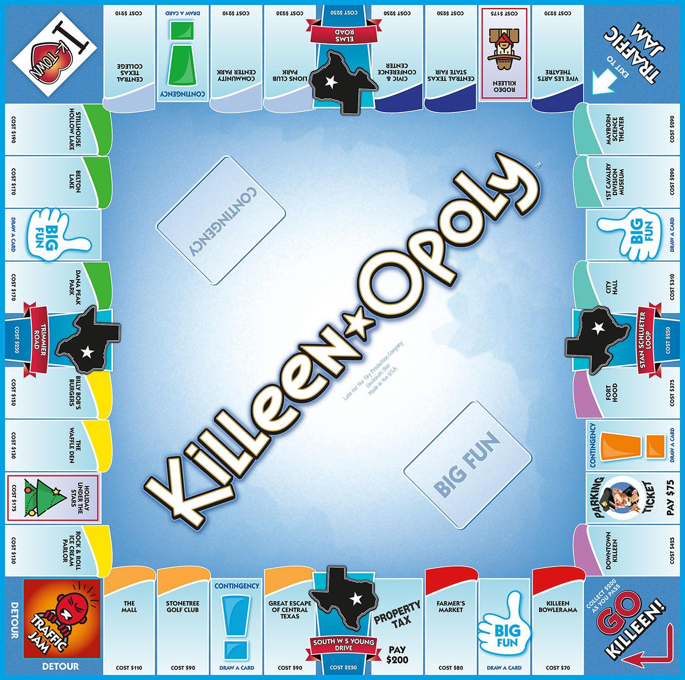 KILLEEN-OPOLY Board Game
