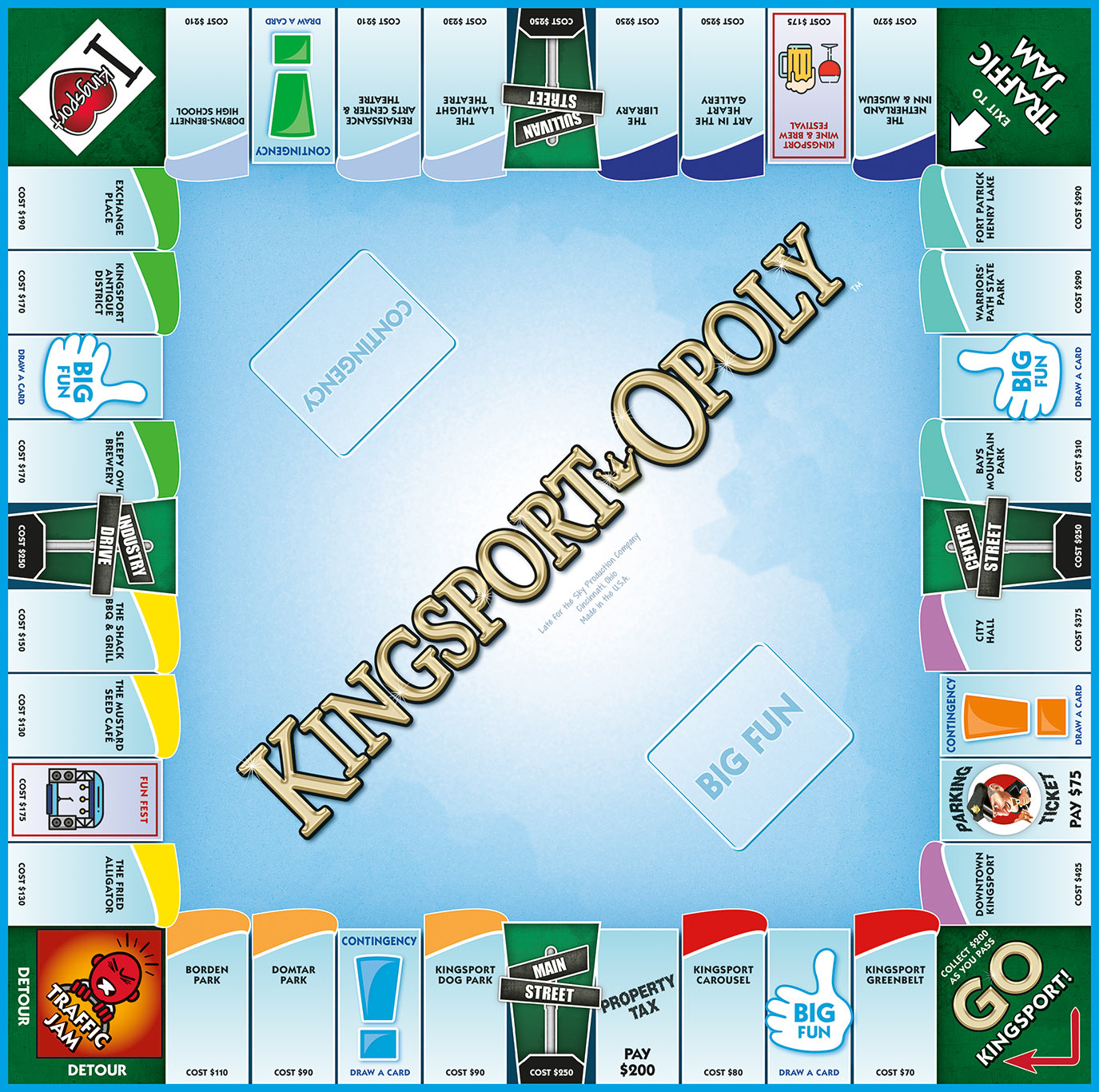 KINGSPORT-OPOLY Board Game