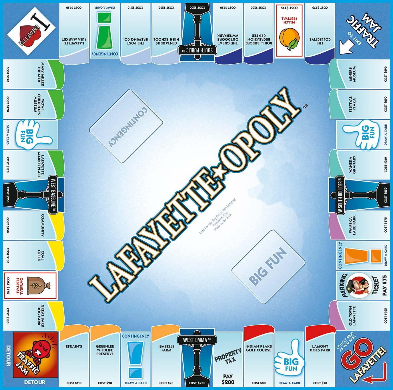 LAFAYETTE-OPOLY Board Game