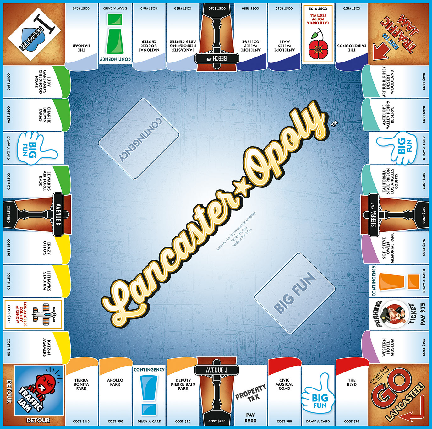 LANCASTER-OPOLY Board Game