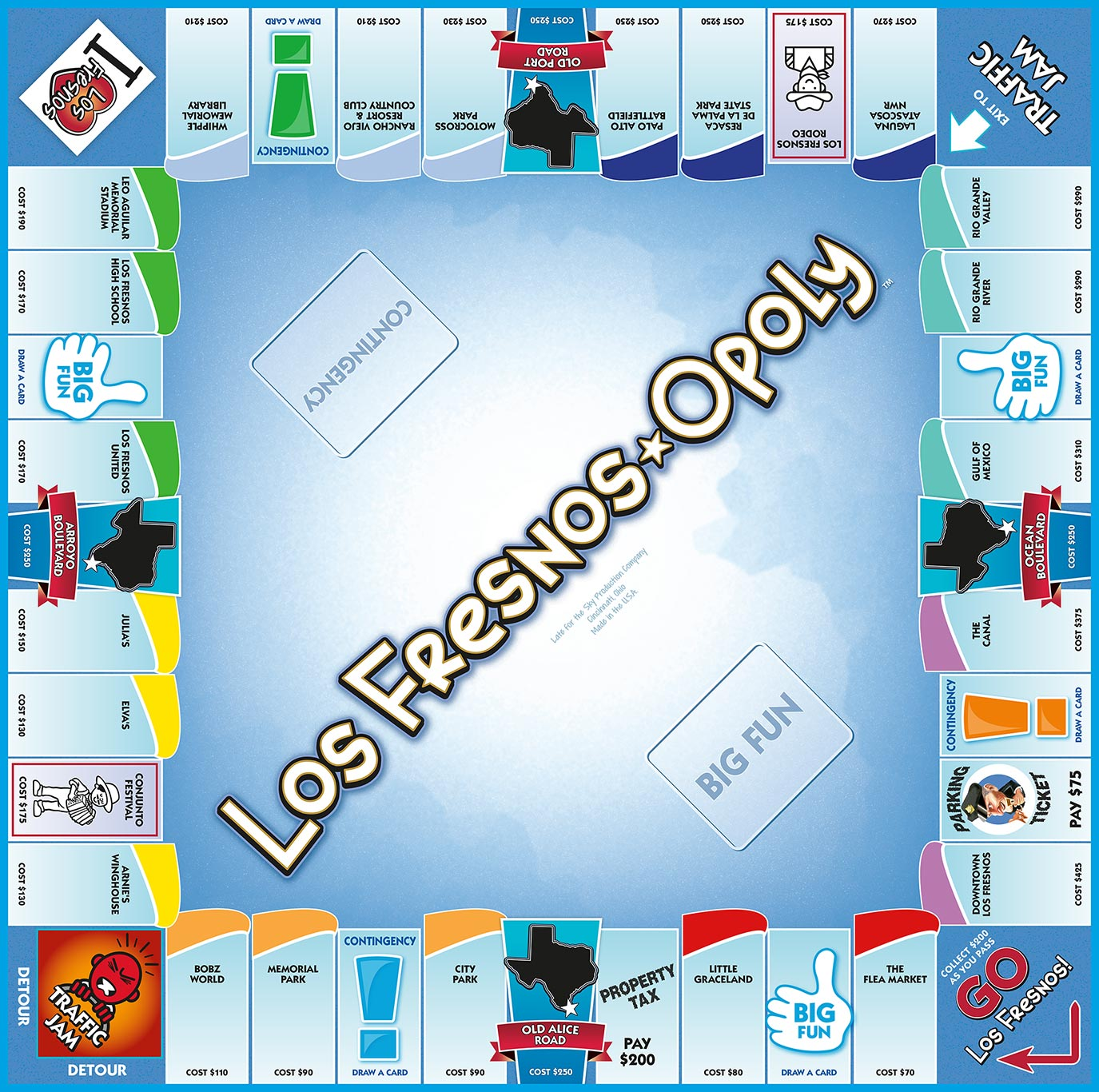 LOS FRESNOS-OPOLY Board Game