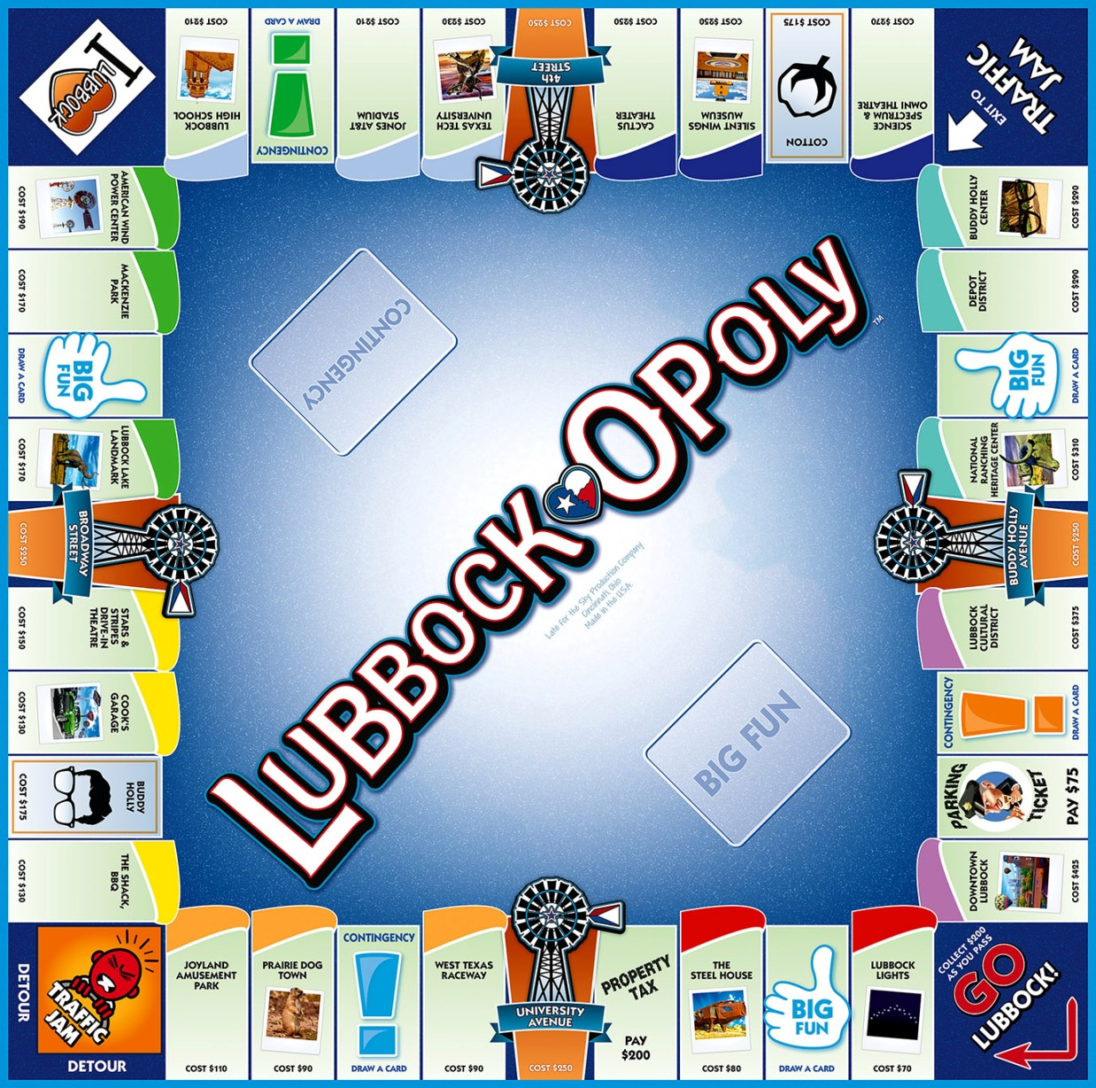 LUBBOCK-OPOLY Board Game