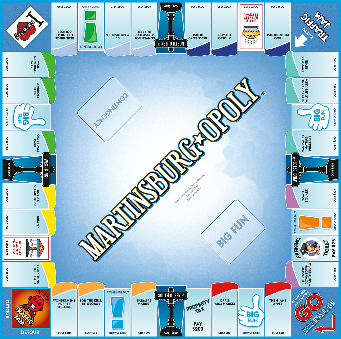 MARTINSBURG-OPOLY Board Game