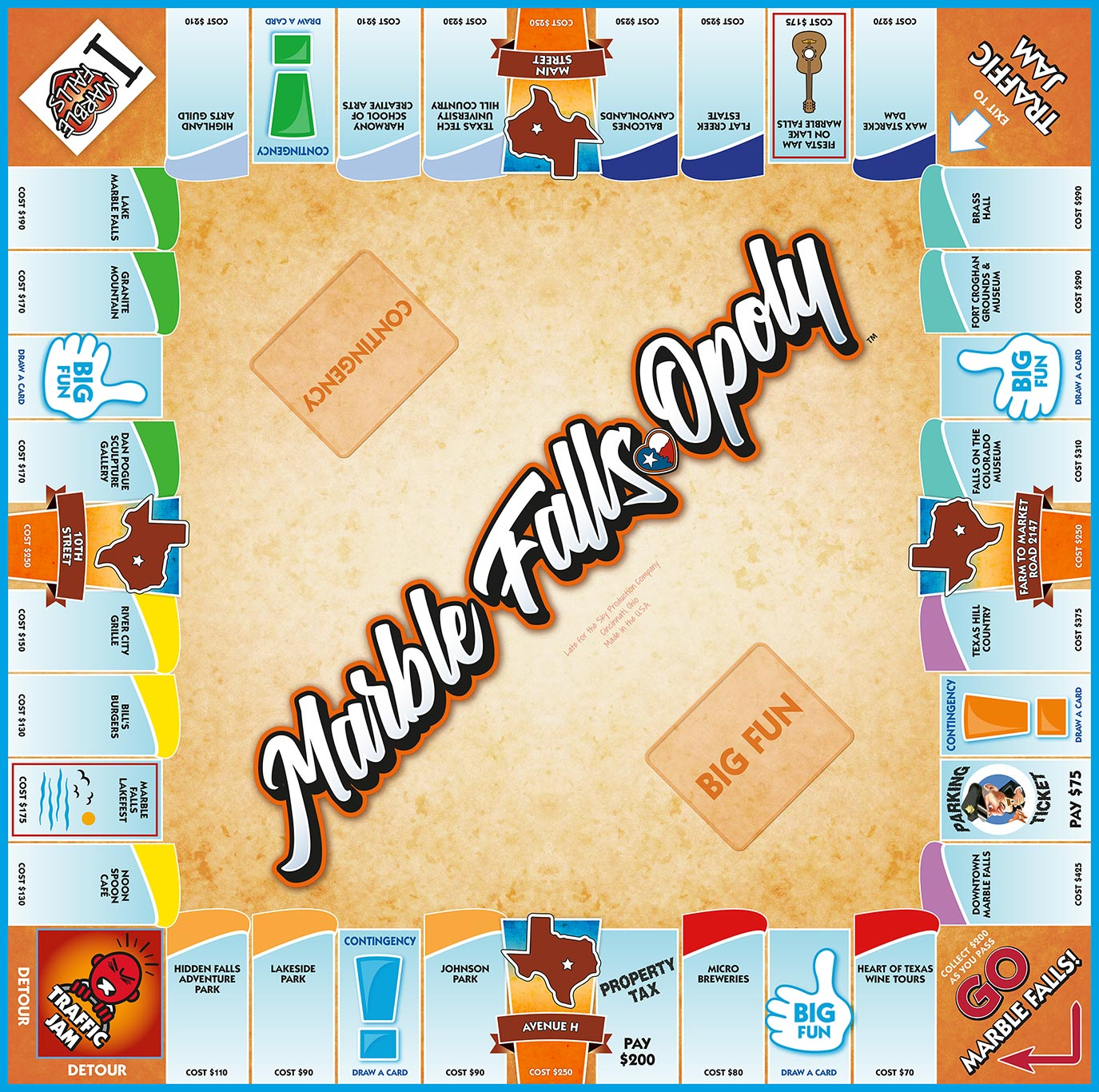 MARBLE FALLS-OPOLY Board Game