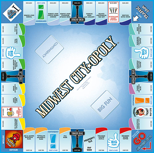 MIDWEST CITY-OPOLY Board Game