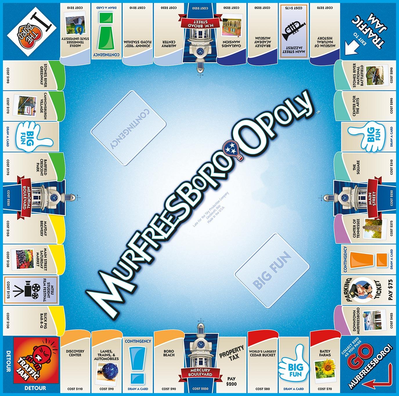 MURFREESBORO-OPOLY Board Game