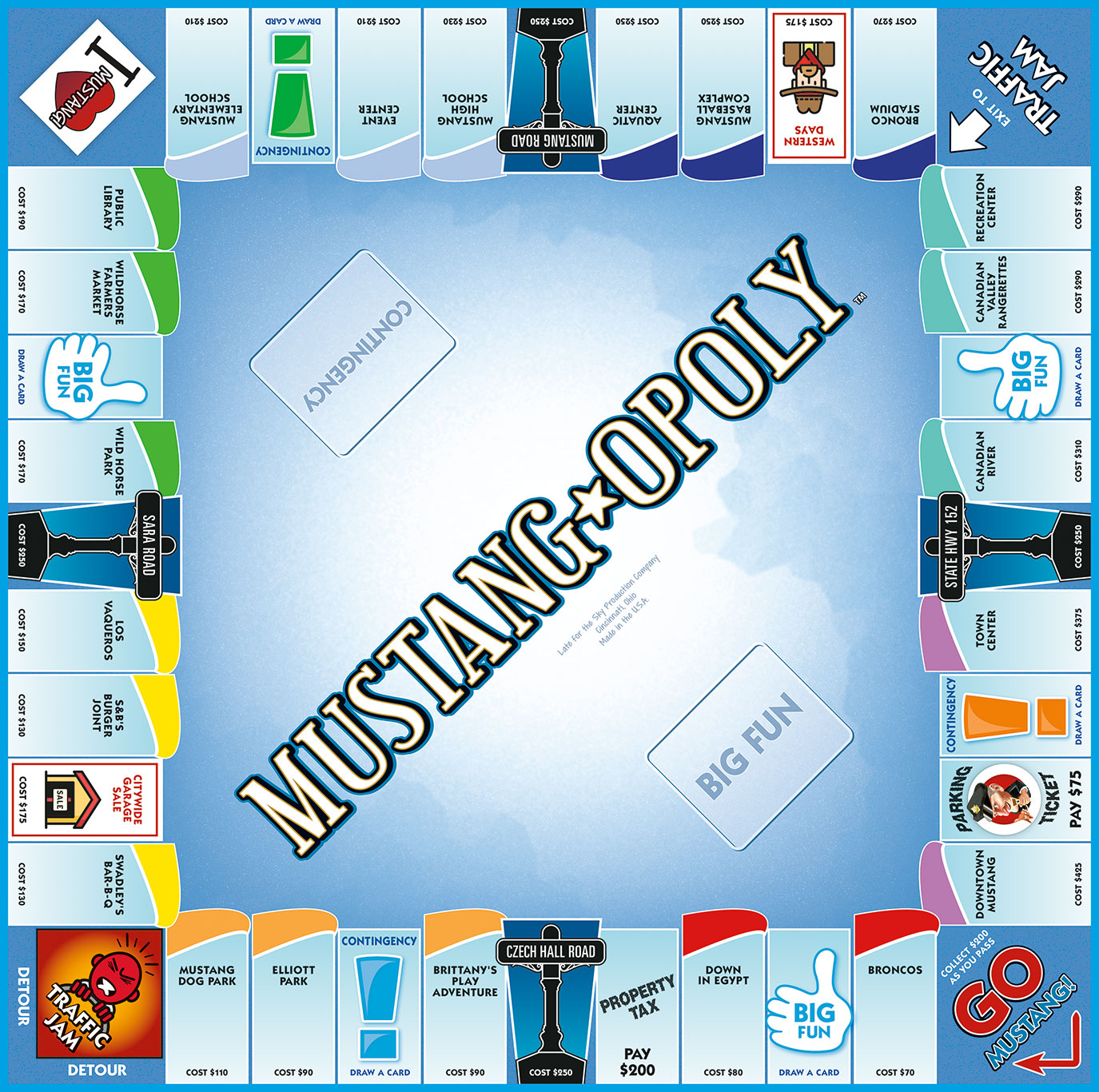 MUSTANG-OPOLY Board Game