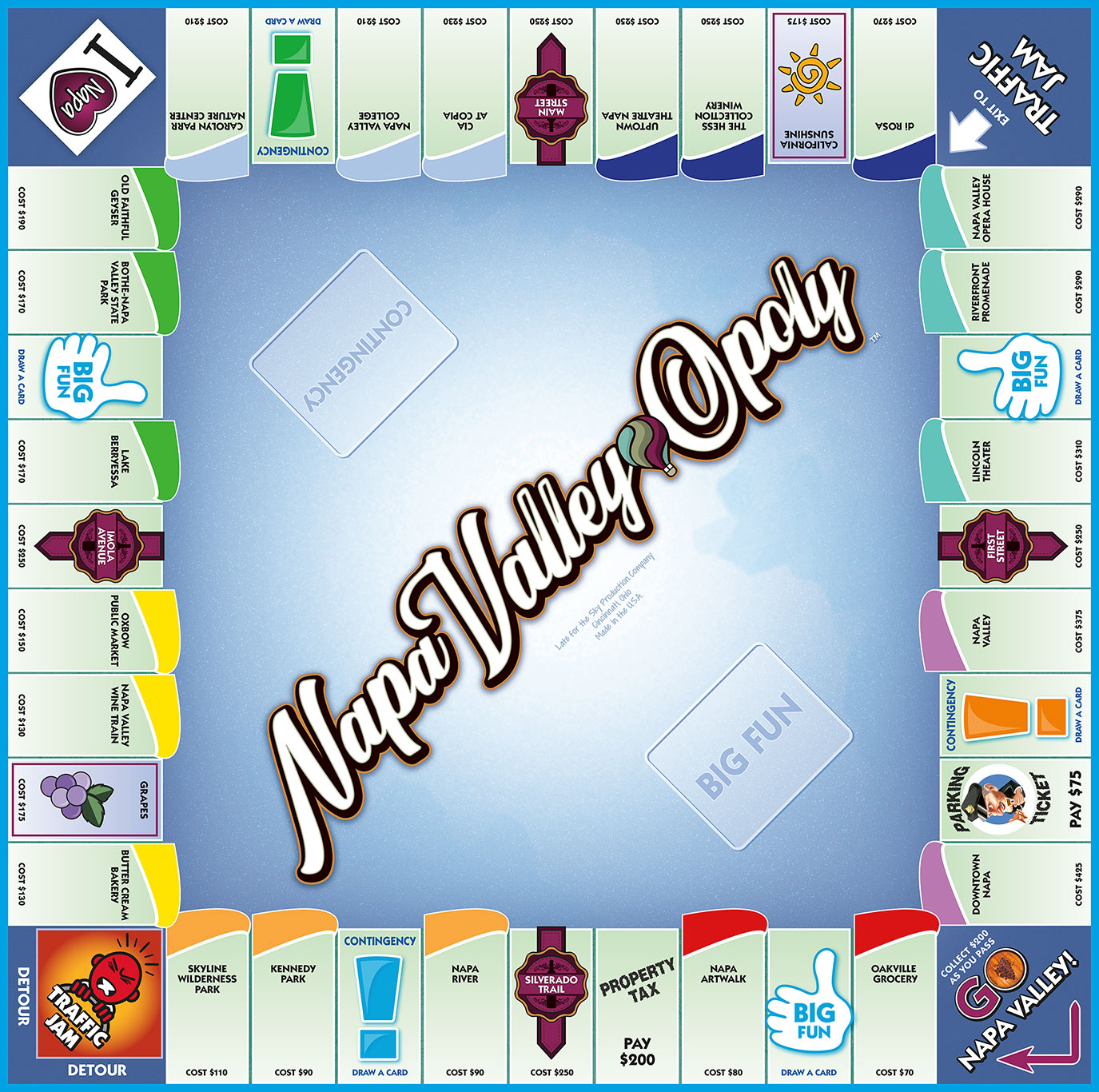 NAPA VALLEY-OPOLY Board Game