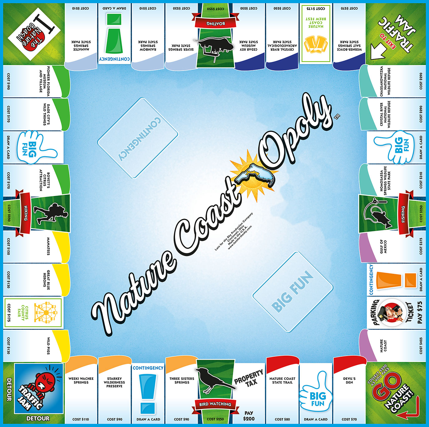 NATURE COAST-OPOLY Board Game