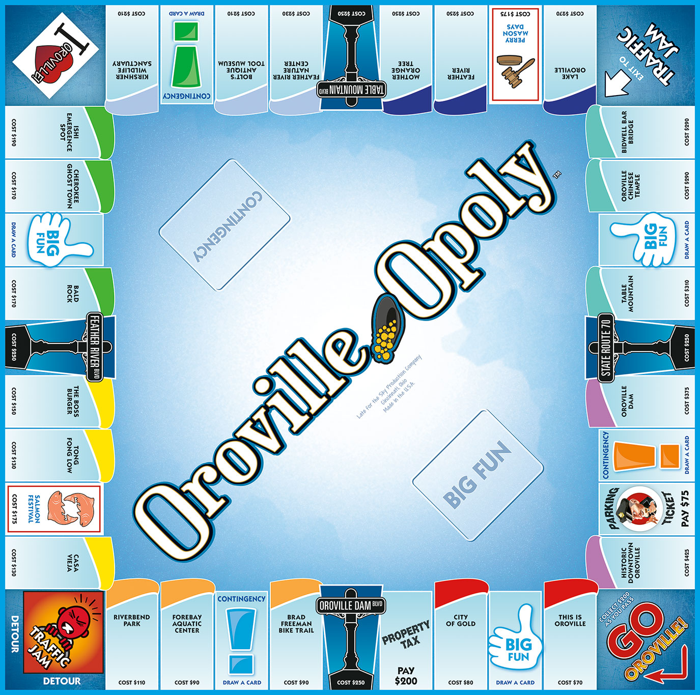 OROVILLE-OPOLY Board Game