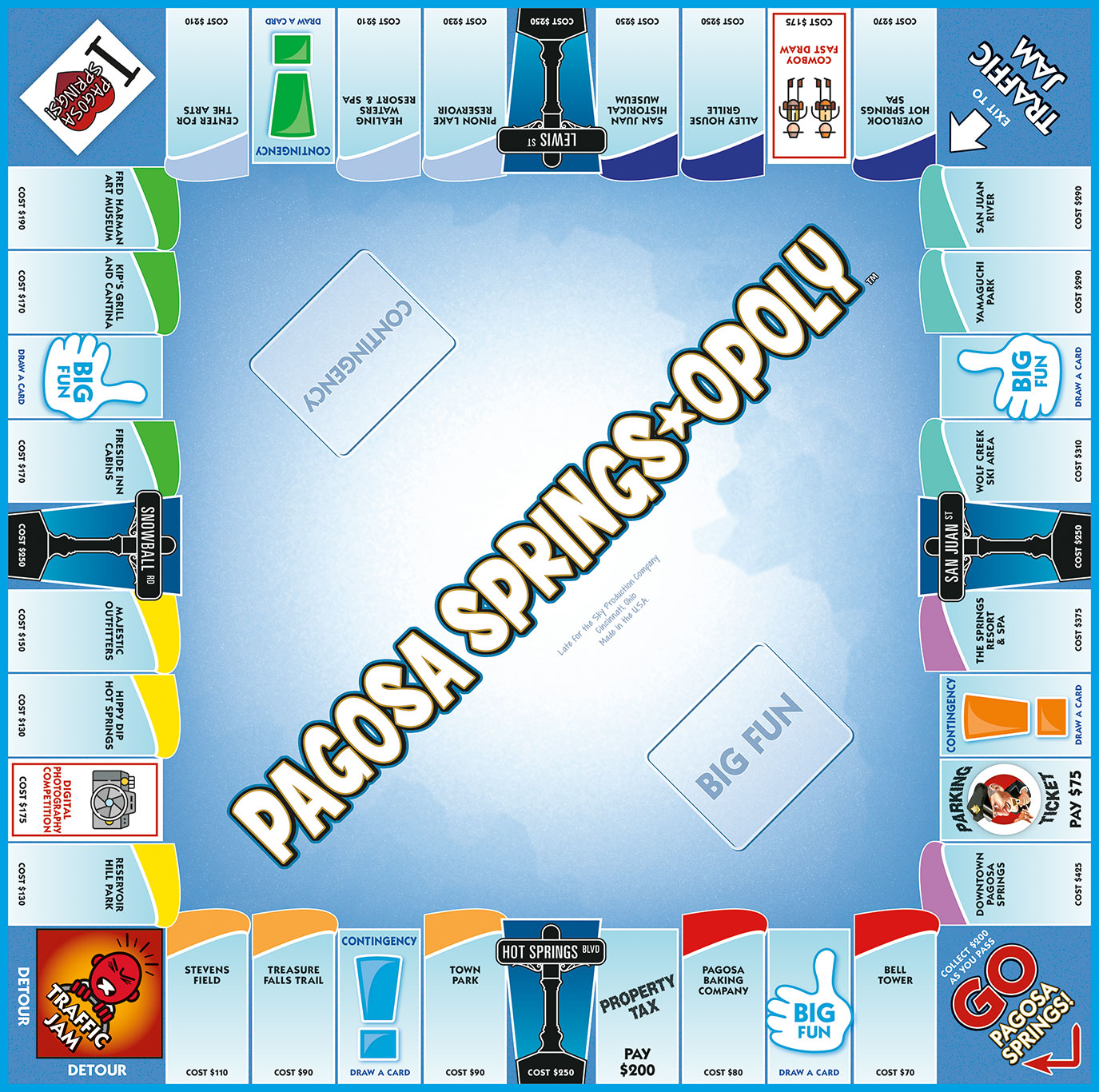 PAGOSA SPRINGS-OPOLY Board Game