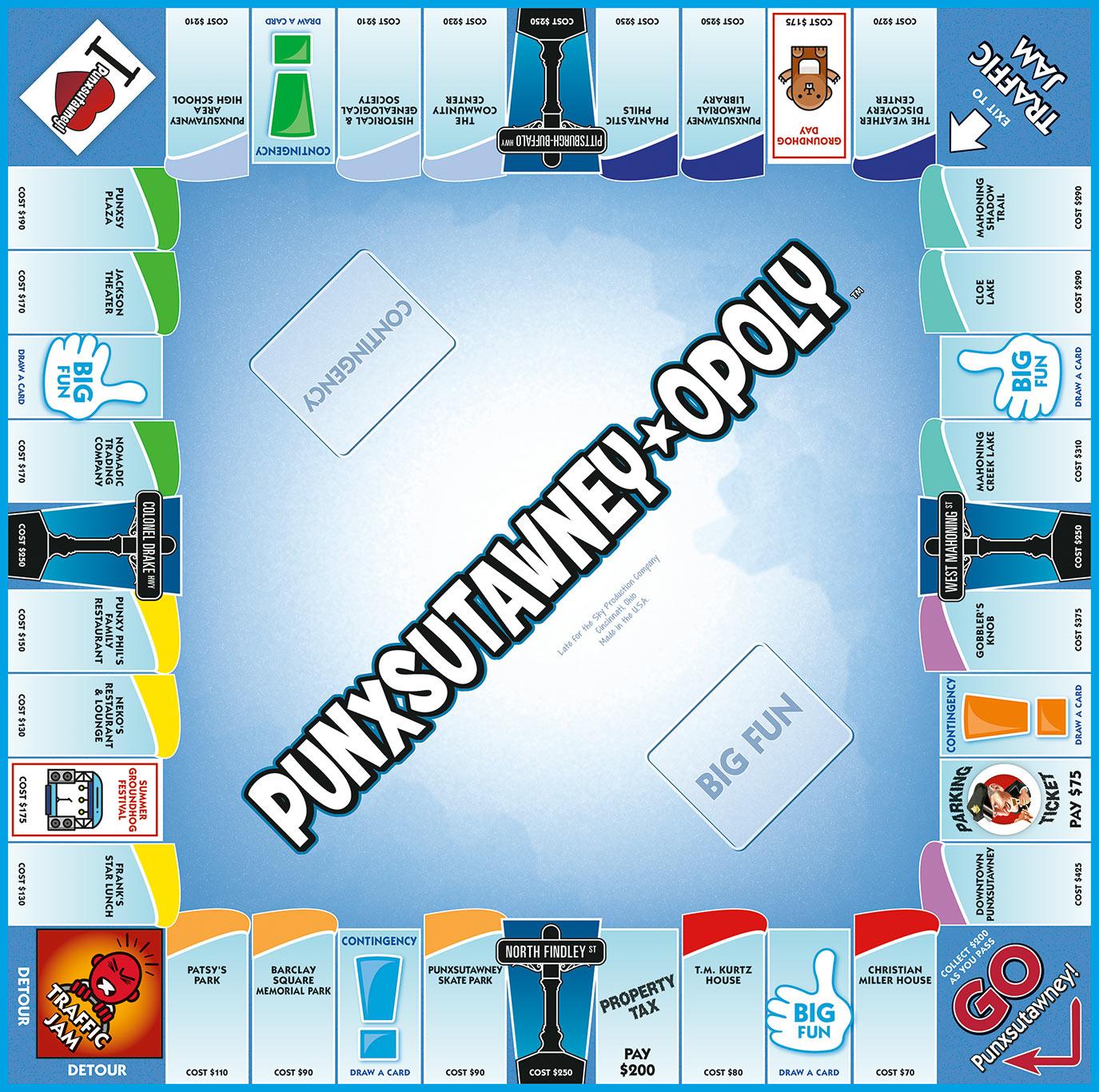 PUNXSUTAWNEY-OPOLY Board Game