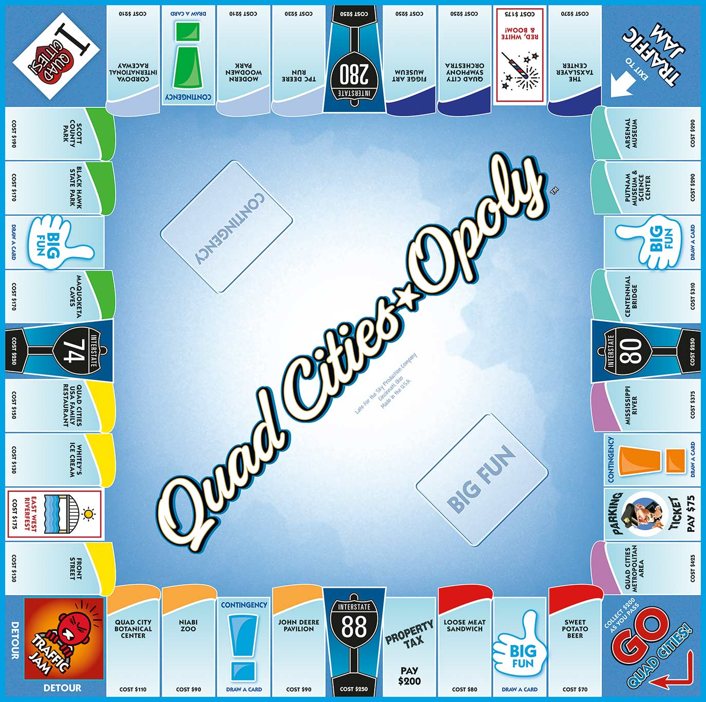 QUAD CITIES-OPOLY Board Game