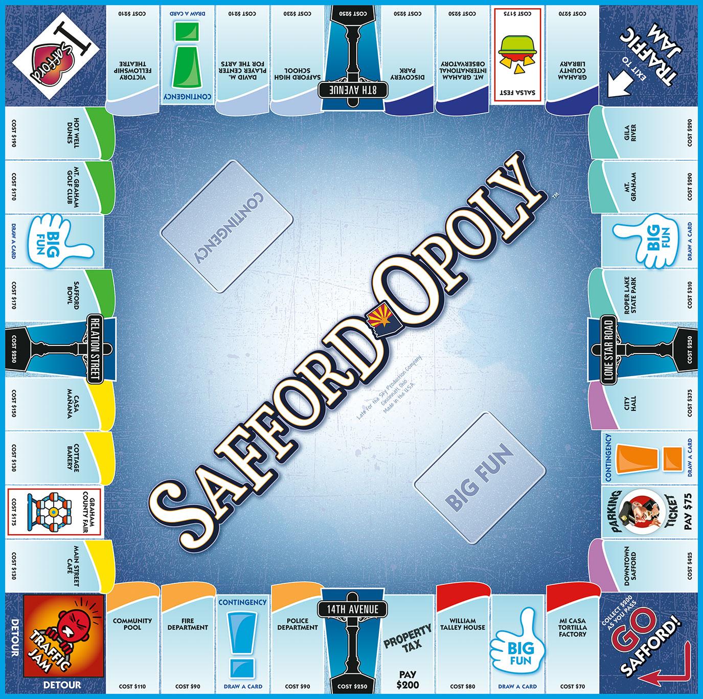 SAFFORD-OPOLY Board Game