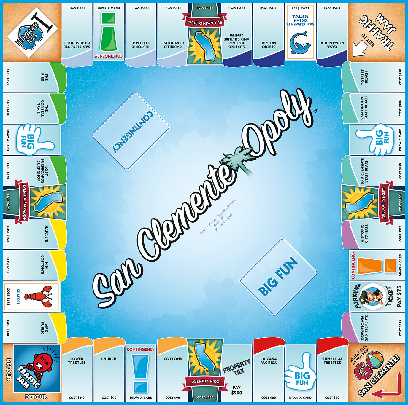 SAN CLEMENTE-OPOLY Board Game