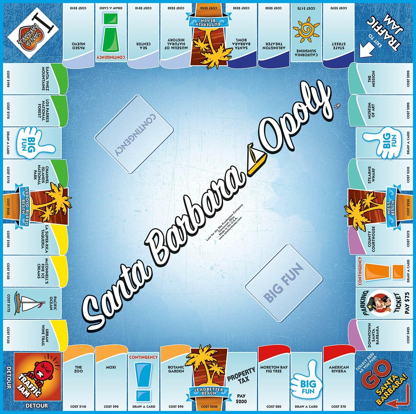 SANTA BARBARA-OPOLY Board Game