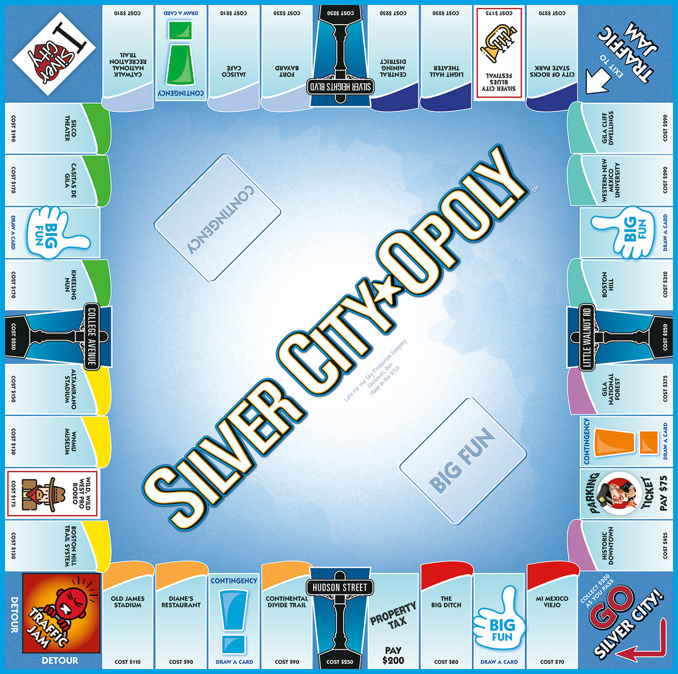 SILVER CITY-OPOLY Board Game