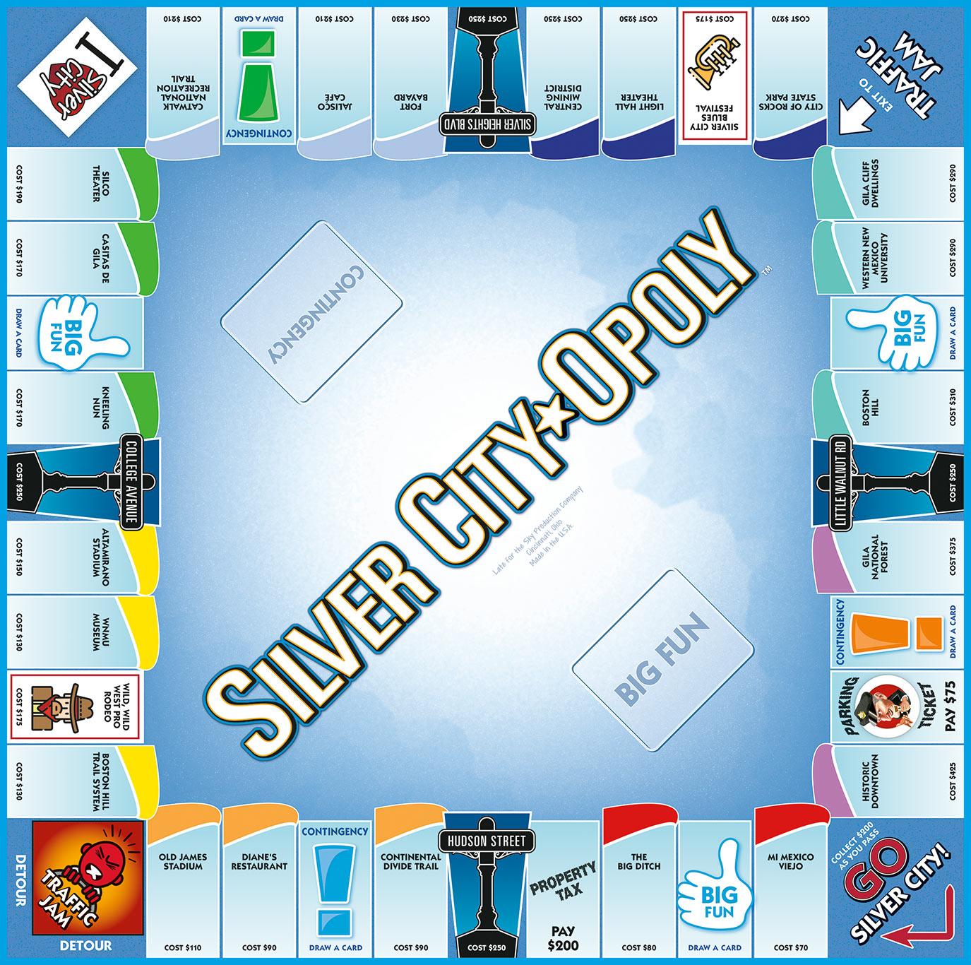 SILVER CITY-OPOLY Board Game