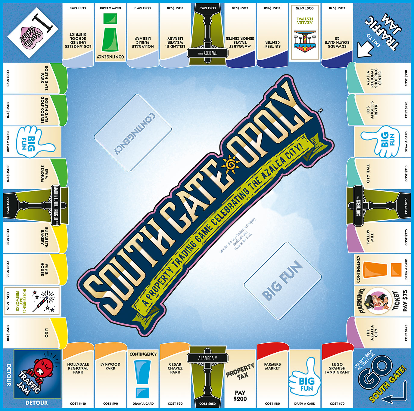SOUTH GATE-OPOLY Board Game