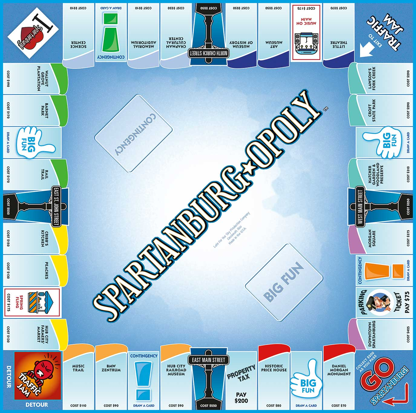 SPARTANBURG-OPOLY Board Game