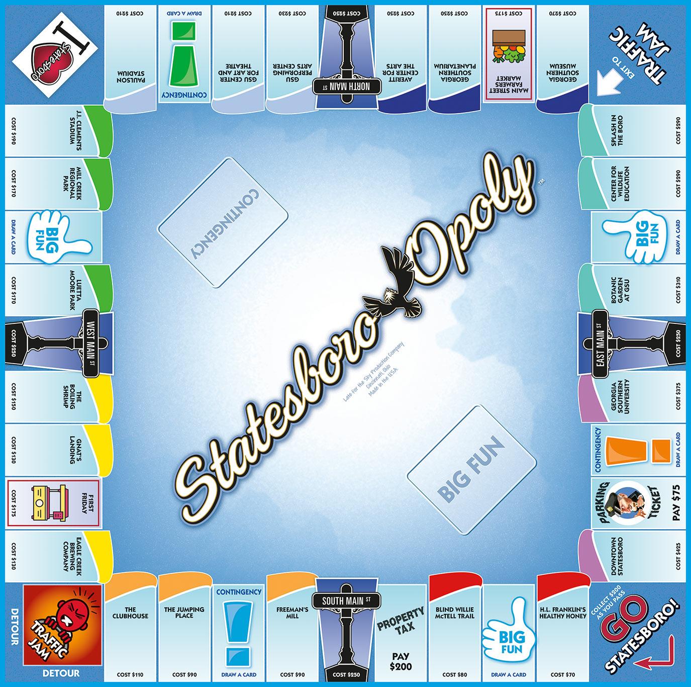 STATESBORO-OPOLY Board Game